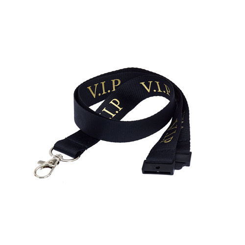 Black VIP Lanyard - Gold Text
