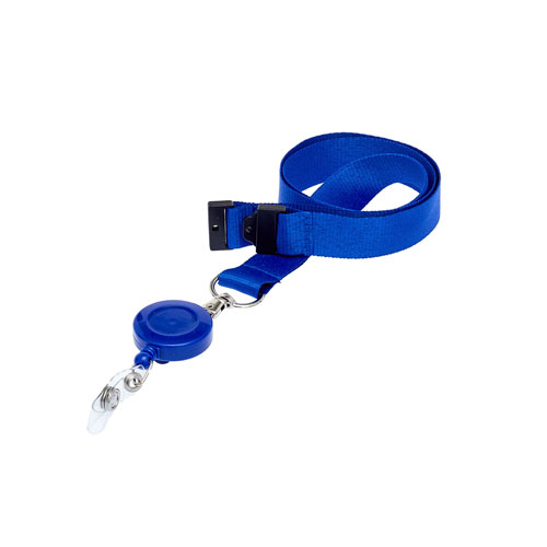 Blue Retractable Reel on a Lanyard