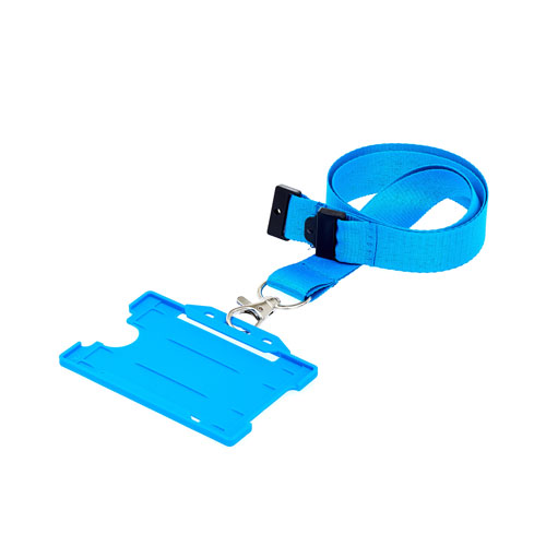 Cyan ID Card Holder with Lanyard (not included)