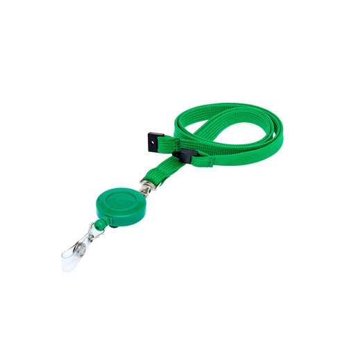 Green Retractable Reel on a Lanyard