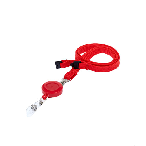 Red Retractable Reel on a Lanyard