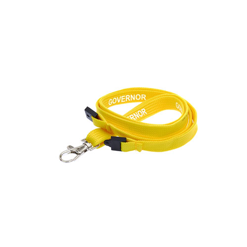 Yellow Governor Lanyard - White Text